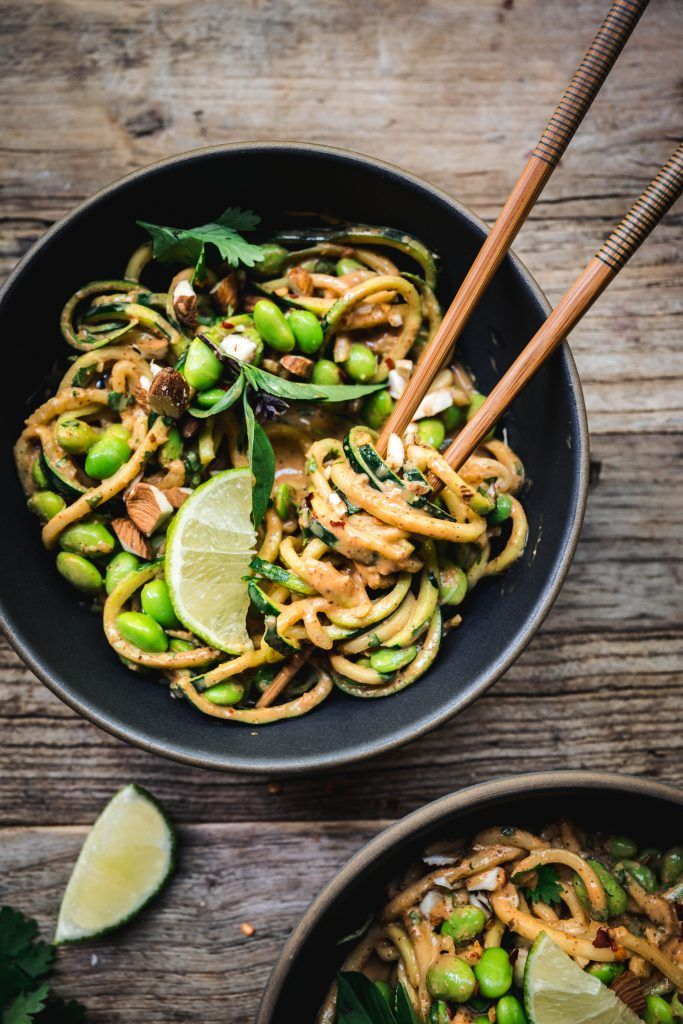 Red Curry Almond Butter Zucchini Noodles Vegan Gluten Free