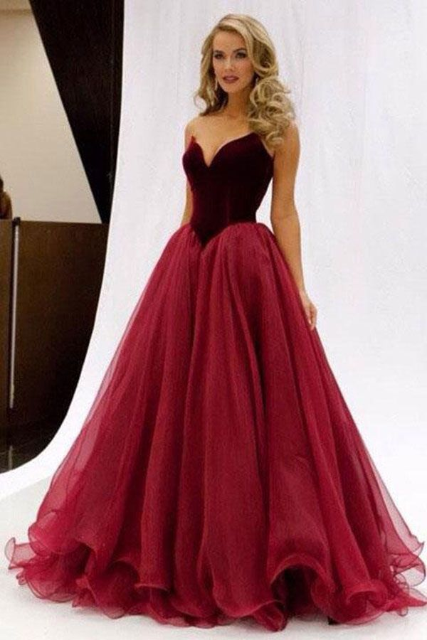 Custom Made Fetching Burgundy Prom Dresses 2018 Princess V-Neck ... df0a190a7