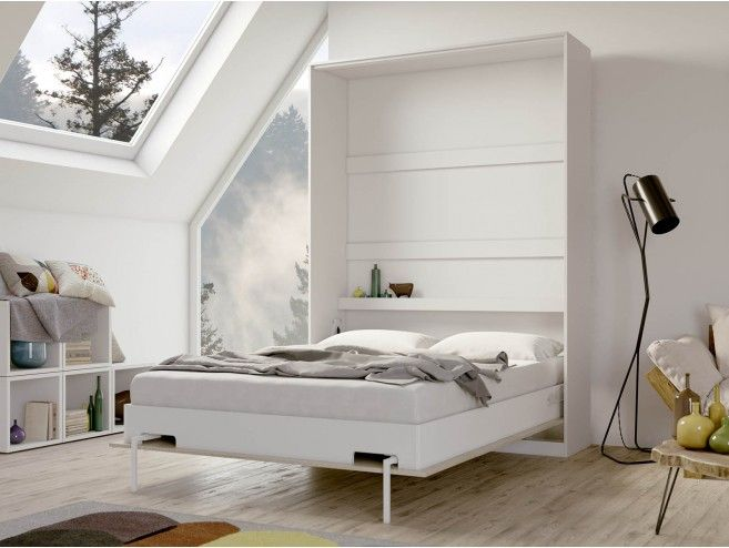 Smartbett Folding Wall Bed Basic 140x200 Vertical White Oak Sonoma Wi 846 56 In 2020 Wall Bed Spring Bedroom Folding Walls