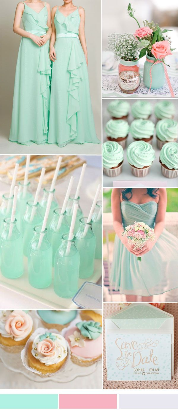 mint and pink wedding color ideas with long chiffon bridesmaid dress