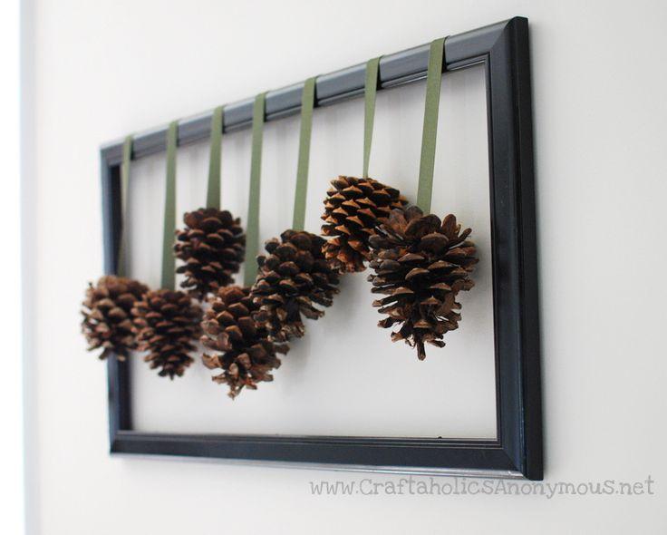 Framed pine cones