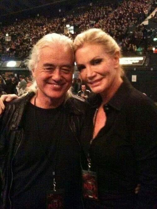 Jimmy Page with Shannon Tweed Simmons (Gene Simmon's wife)