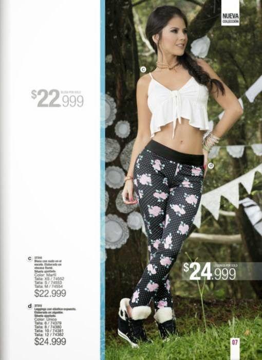 Look sensual juvenil con blusa y legging. Ropa de Carmel Campaña 5 2015 Colombia