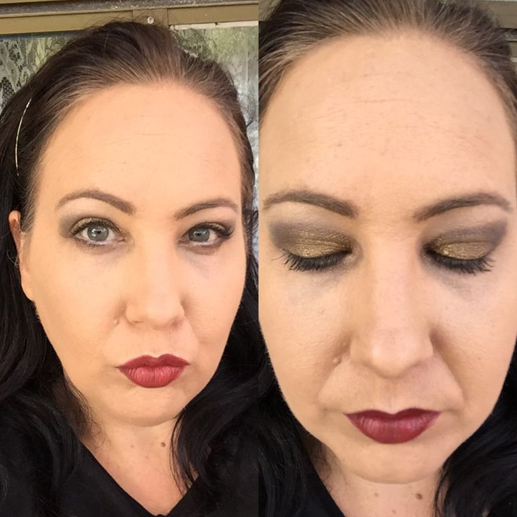 Smokey eye and gold using splurge cream shadows from Younique