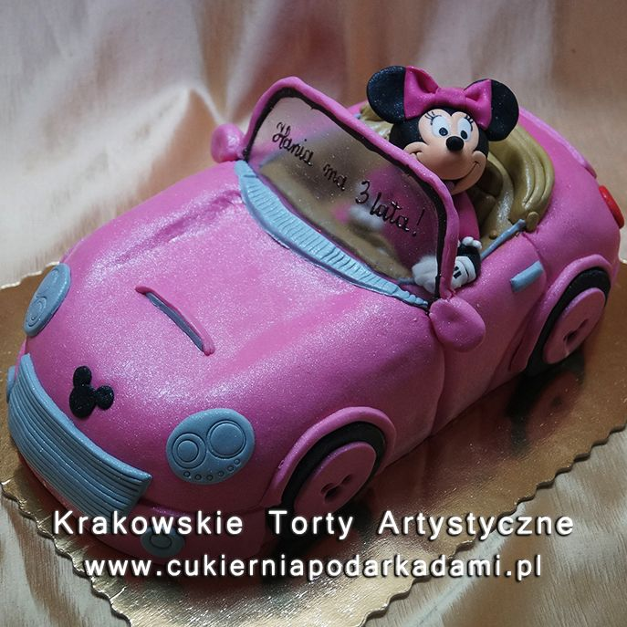 107. Tort z Myszką Minnie w rózowym cabriolecie. Minnie Mouse in pink