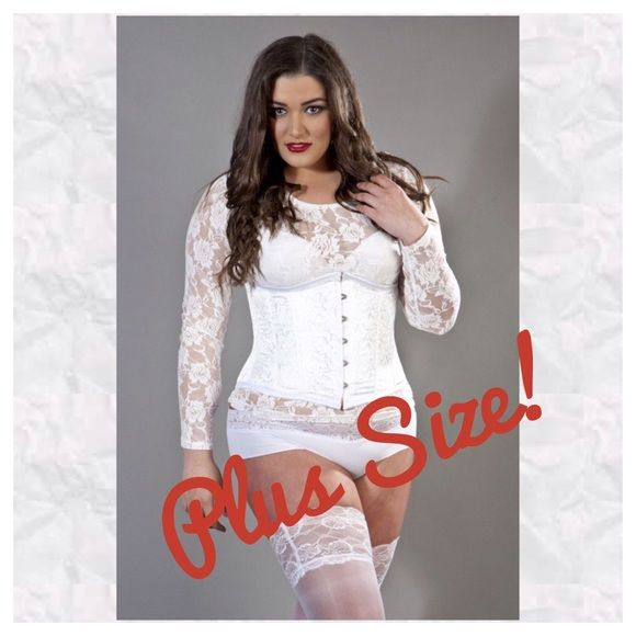 "White brocade plus size underbust corset NWTs!  Gorgeous pure white brocade plus size underbust corset with steel and plastic boning cinches you in up to 3-4 inches!  Comes with matching thong panty!  New with tags!  Corset is adjustable so fits a range of sizes.  3XL fits waist 35""-37"" and hips 44""-46"".  Since it fits under the bust, breast size doesn't matter ☺️!  Extremely flattering and sexyyyyy!!! Intimates & Sleepwear Shapewear"