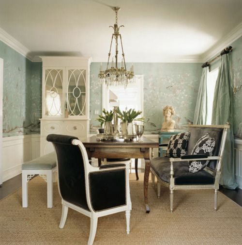 black and white with a pretty blue wallpaper dining room