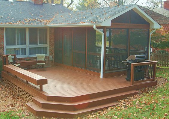 Brainstorming: Like the combo of the screen porch with the deck, needs more vertical interest and green though: