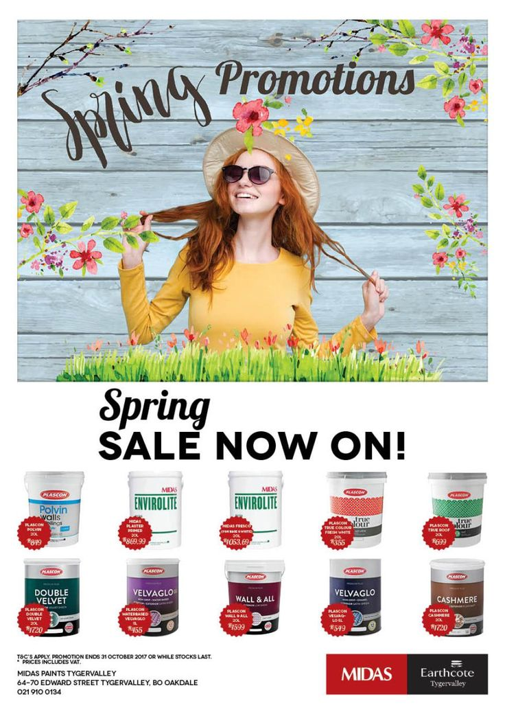 Midas Paints Tygervalley Spring Promotions. Spring Sale Now on! http://midaspaintstygervalley.co.za/spring-promotion/