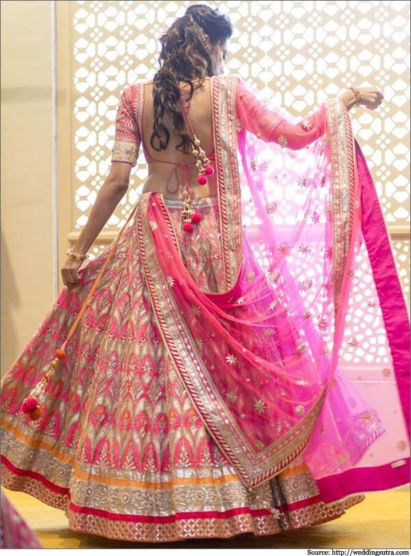 Bold pink Bridal Lehenga from Anita Dongre's Jaipur Brides' Collection. #bridallehengas #weddinglehengas