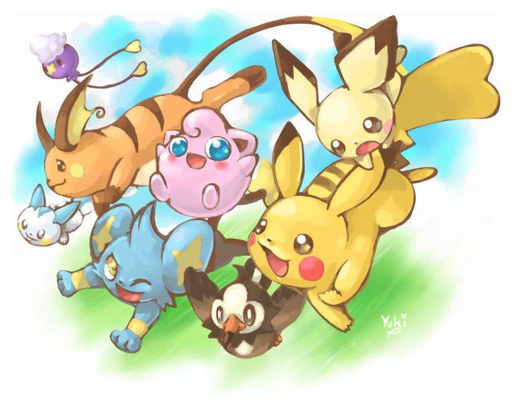 Drifloon, Raichu, Pachirisu, Shinx, Jigglypuff, Starly, Pikachu, Pichu. Don't forget to like this Pokemon Facebook page for more cool Pokemon content: http://www.facebook.com/shinydragonairx