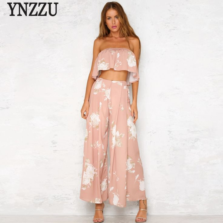 Two Pieces Women Summer Sets Casual Pink Strapless Ruffles Short Tops Camis Boho Style Beach Women Split Loose Pants AJ021 #Affiliate