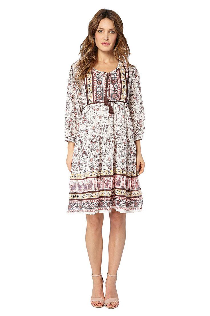 Kampania Palme / 17755 / Sukienki / Sukienki wzorzyste z rękawem / Sukienka Brązowa