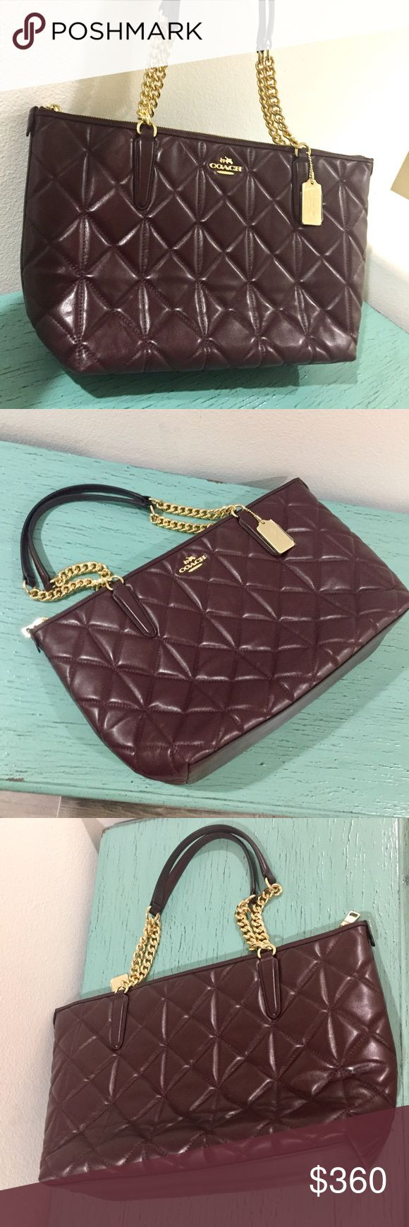 Coach Quilted Oxblood Tote with Gold Accents Coach Quilted Leather Ava hand oxblood tote. Dimensions: 16L x 9H x 5 D One zip pocket, multifunction pockets. Gold chain strap Accents. Dual leather handles. Brand New. Pristine. Coach Bags