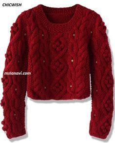 Короткий свитер из толстой пряжи от CHICWISH - СХЕМА http://mslanavi.com/2016/08/korotkij-sviter-iz-tolstoj-pryazhi-ot-chicwish/
