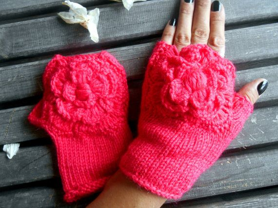 Fingerless Gloves, Handmade, Knitted Gloves,Women Gloves,American Rose Colors,Crochet Gloves,Winter Gloves,Christmas Gifts,Gift Ideas