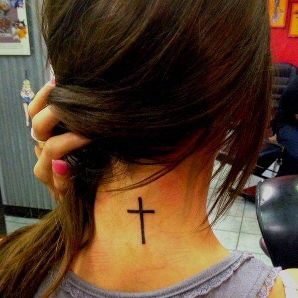 love the simple tat: Tattoo Placements, Tattoo Ideas, Necktattoo, First Tattoo, Long Hair, Neck Tattoo, Crosses Tattoo, A Tattoo, Christian Tattoo