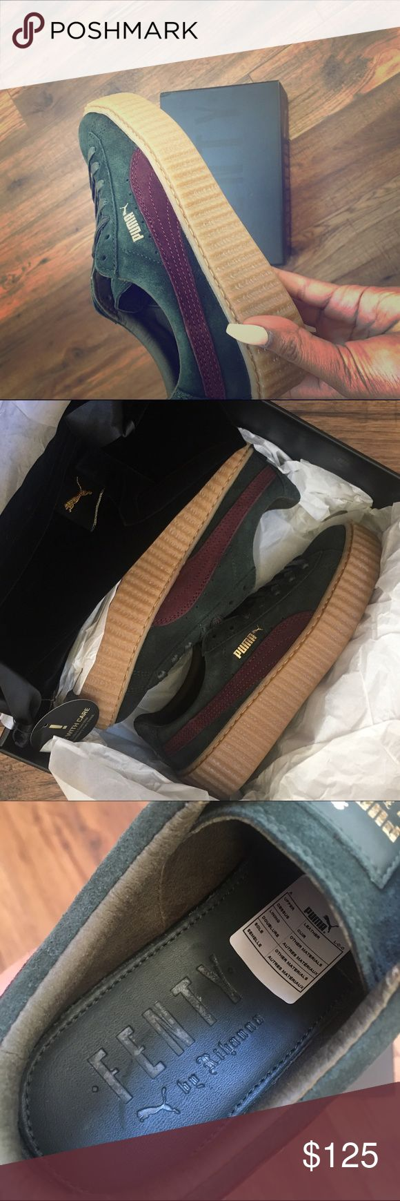 FENTY PUMA BY RIHANNA Suede Green-Bordeaux Creeper FENTY PUMA by Rihanna women's creeper , Green-Bordeaux-Gum 351005 07. Size US 7. Original packaging. Brand new. Never been worn. Shoe bag included. Puma Shoes Athletic Shoes