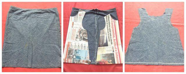 Vestido de jean reciclando una falda - mamyalaobra.blogspot.com
