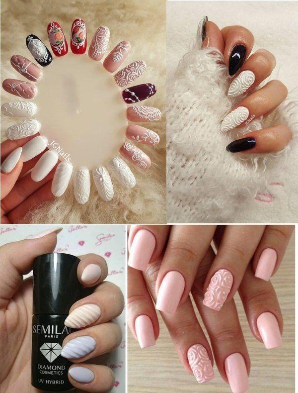 wypukłe paznokcie - inspiracje