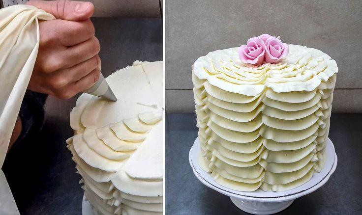 Ruffle Buttercream Cake - Piping Technique by CakesStepbyStep