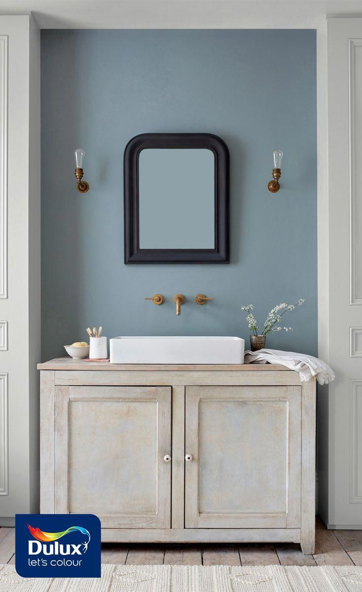 Turn Your Bathroom Into A Soothing Sanctuary With This Grey Blue Shade Denim Drift It Works Perfectl Blue Bathroom Bathroom Decor Colors Small Bathroom Colors