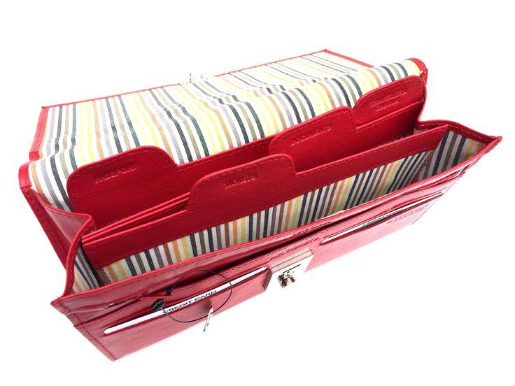 Golunski 1004 Lockable Leather Travel Wallet Organiser Document Holder In Red