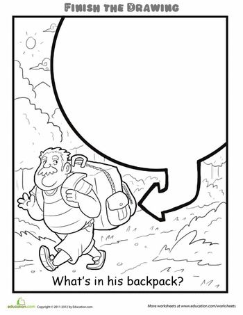 Worksheets: Finish the Drawing: What's in his Backpack?heel veel meer