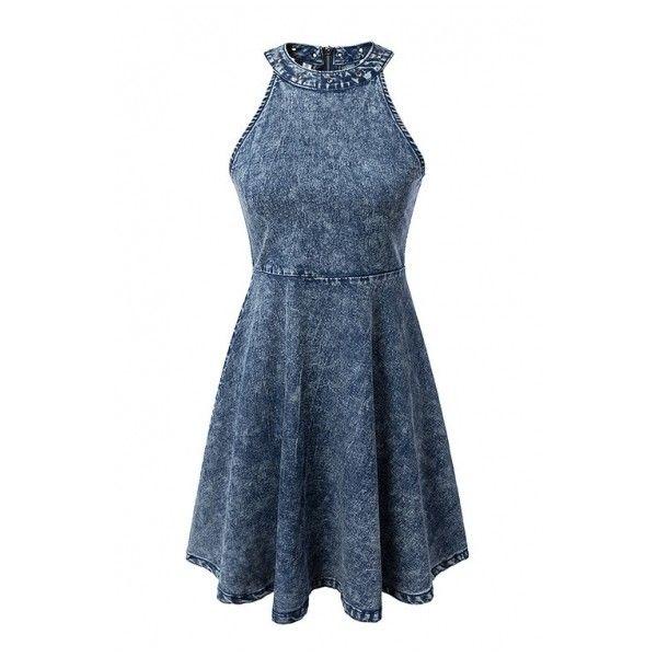 Denim Halter Grommet Zipper Back Skater Dress ($24) ❤ liked on Polyvore featuring dresses, beautifulhalo, halter dress, skater dress, halter-neck tops, denim skater dress and halter top