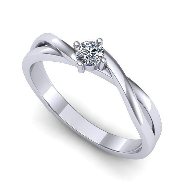 Inelul este realizat din aur alb 14k, greutate: ~1.80gr. Produsul are in componenta sa: 1 x diamant, dimensiune: ~2.80mm, greutate: 0.08ct , culoare: G, claritate: VS2, forma: round