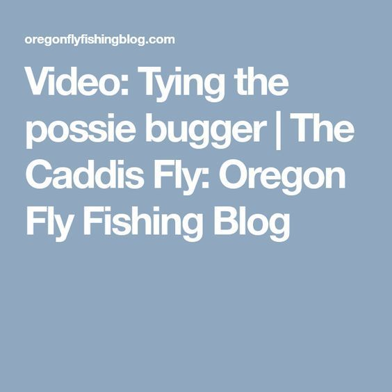 Video: Tying the possie bugger   The Caddis Fly: Oregon Fly Fishing Blog