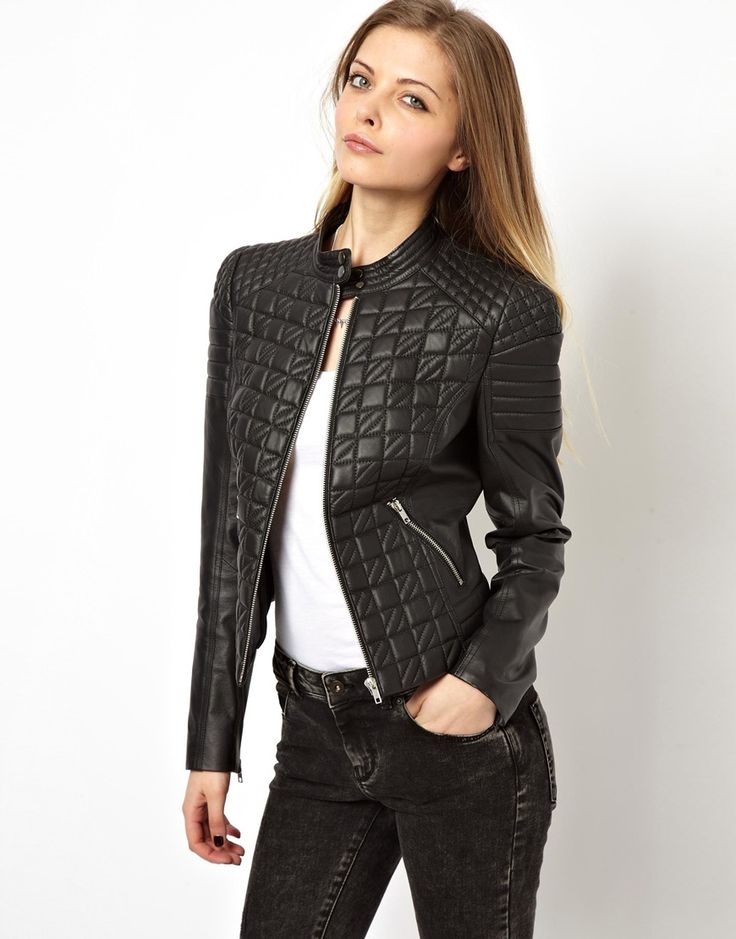 ASOS Leather Jacket in Quilt Structured Shoulder