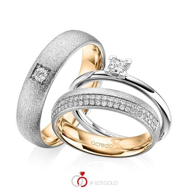 Tri-Set in Weißgold 585 mit zus. 0,61 ct. Prinzess-Diamant & Brillant tw, si von acredo