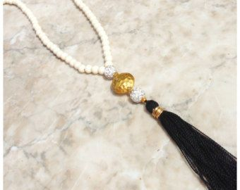 N602 - Long Natural Cream Beaded Necklace - Black Tassel - Long Tassel Necklace