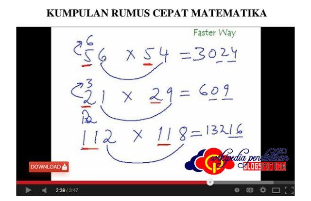 KUMPULAN RUMUS CEPAT MATEMATIKA  Matematika merupakan salah satu mata pelajaran yang ada di setiap tingkat sekolah  dan termasuk juga mata pelajaran yang di gemari para peserta didik serta dalam kehidupan sehari-hari pun rumus matematika sering kita gunakan seperti ketika berdagang mengukur tanah dan sebagainya. Oleh karena itu kita tidak dapat terlepas dari rumus matematika itu sendiri.  Pada tingkat Sekolah Dasar (SD) banyak sekali siswa yang menggemari mata pelajaran Matematika dengan…