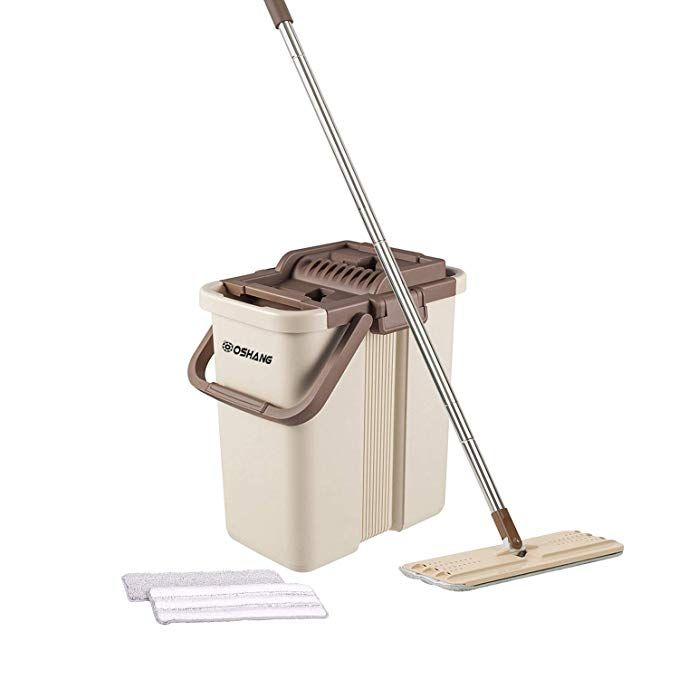 Oshang Flat Squeeze Mop And Bucket Hand Free Wringing Floor Cleaning Mop 2 Types Washable Reusable Micro Floor Cleaning Mop Cleaning Mops Microfiber Mops