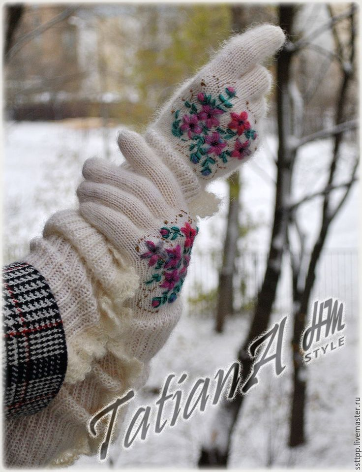"""Купить Длинные перчатки с кружевом и вышивкой """"Предзимье"""" - белый, перчатки, перчатки женские, перчатки вязаные"""