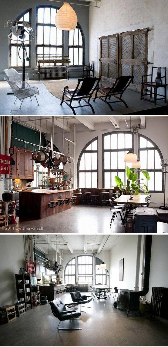Brooklyn loft. Industrial furniture, live edge table, kitchen, living, dining, wood