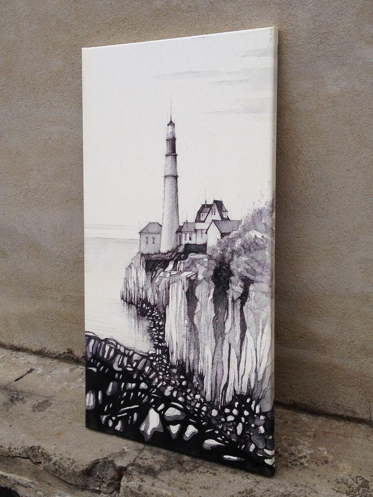 Maják - kresba na plátno
