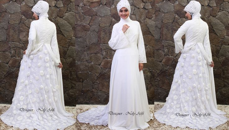 Wedding Dress Muslimah Putih Glamour Nely Afifi  http://nelyafifi.com