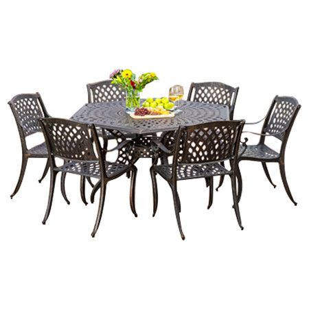 you should see this sydney 7 piece outdoor dining set in bronze on