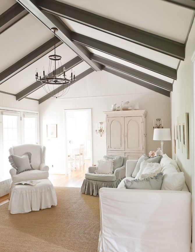 Paint Wood Beams Chic Living Room Shabby Chic Living