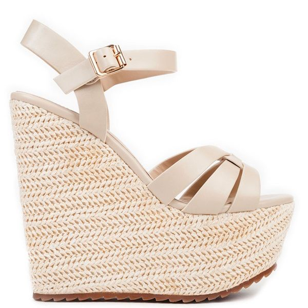 Beige multistrap platform with straw. Fastens with adjustable ankle strap.