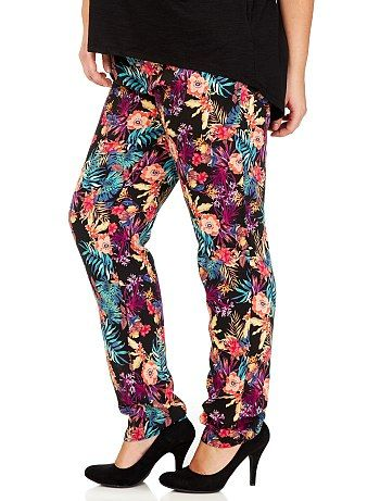 Pantaloni fluidi stampati a fiori taglie forti  #kiabi