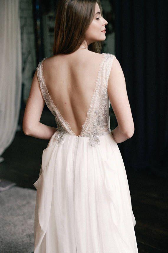 Silk wedding dress // Kyrene/ Simple bridal gown silver lace