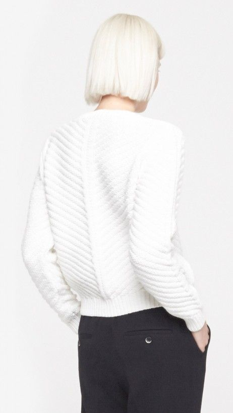 Diagonal Knit Cable Sweater by Carven  Create your own The Dreslyn: White Album board on Pinterest for a chance to win one of two $500 gift certificates from thedreslyn.com! Enter here: http://www.thedreslyn.com/services#pinterest