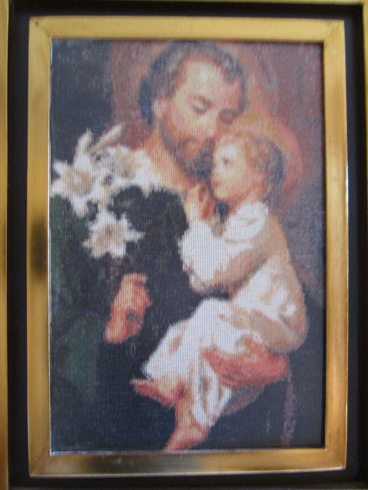 Cuadro realizado por mi mamá en el año 2000. San José  y el niño..
