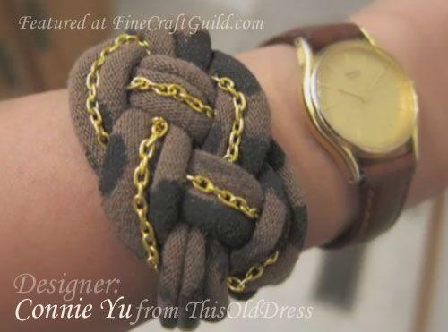handmade jewelry, gold chain bracelet, tshirt upcycle