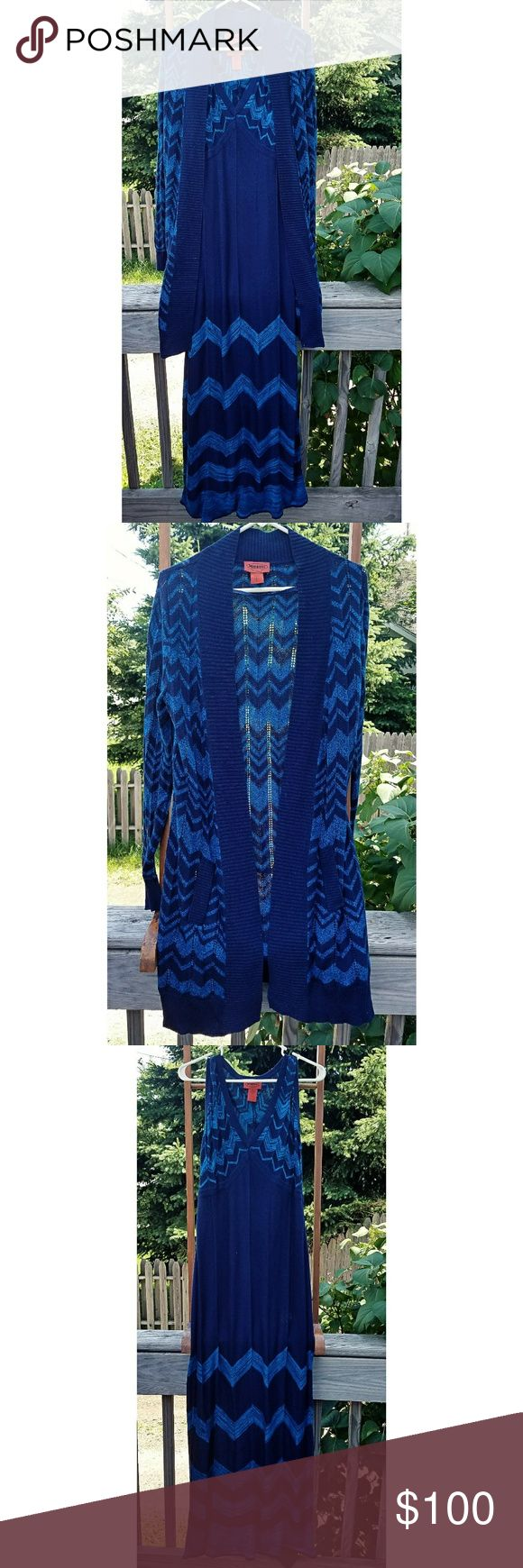 Missoni for Target maxi dress/duster cardigan set Missoni for Target maxi dress/duster cardigan two piece set in excellent condition, beautiful navy/turquoise chevron print. Excellent condition; never worn. *As stated in my meet the posher, my items are NOT from a smoke free home* Missoni for Target Other