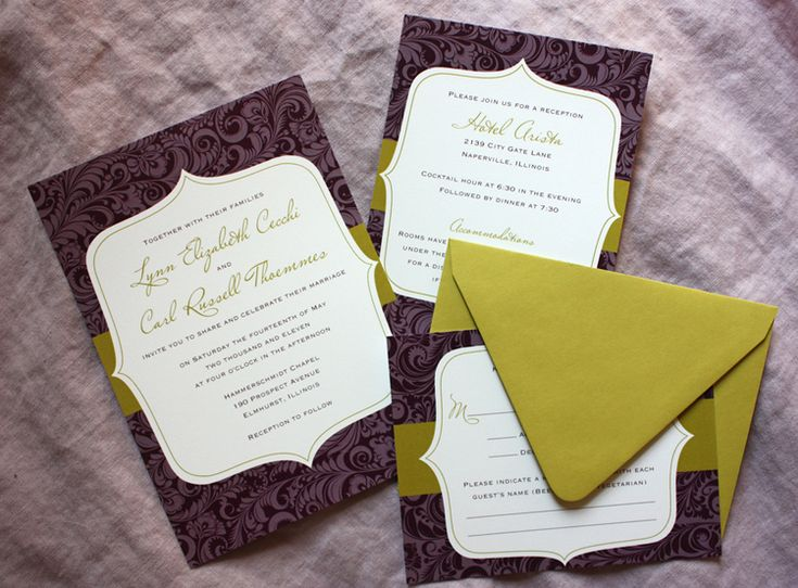 Modern Chartruese And Eggplant Patterned Wedding Invitations By Emdotzee Designs
